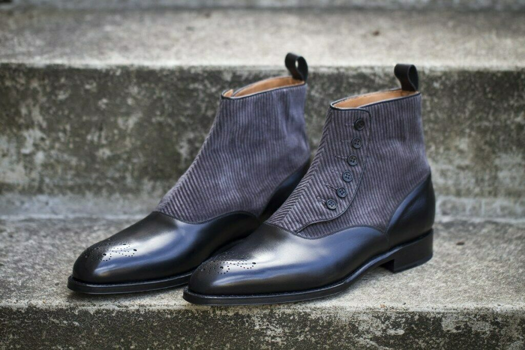 Hecho a mano hombres dos tonos de tobillo botas altas, Hombres Botón Formal causal bota-Todas las Tallas