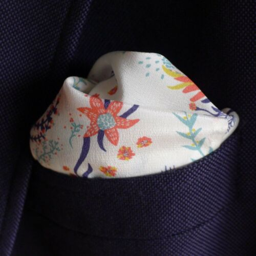 Zinnia flowers Liberty of London silk pocket square