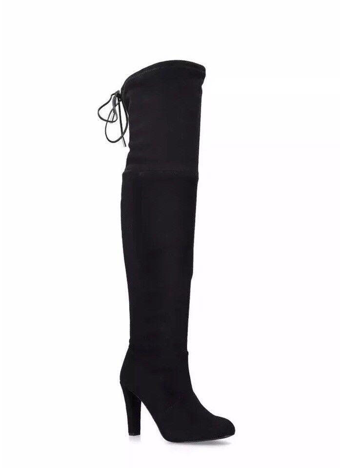 Carvela By Kurt Geiger Sammy Over The Knee Boots Black Suede Size 37