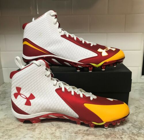 New Size 14 Under Armour UA TM Spine Nitro Mid MC Football Cleats Red White Gold