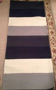 West Elm Midnight Navy Blue Off White Stripe Step Cotton