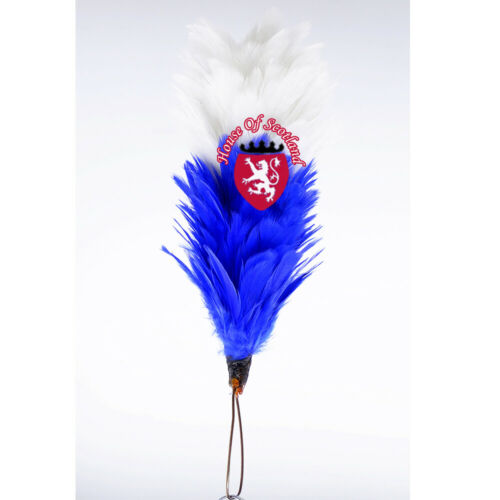 """SH Glengarry Cap Plume Feather Hackle White Blue 6/"""" Balmoral Hats Highland wear"""