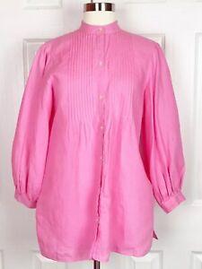 Lauren-Ralph-Lauren-SZ-M-Pintuck-Poet-Tunic-Blouse-Pink-100-Linen-Long-Sleeve
