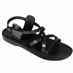 Black-Gladiator-Jesus-Men-039-s-Leather-Sandals-Strap-Handmade-UK-4-15-EU-36-50