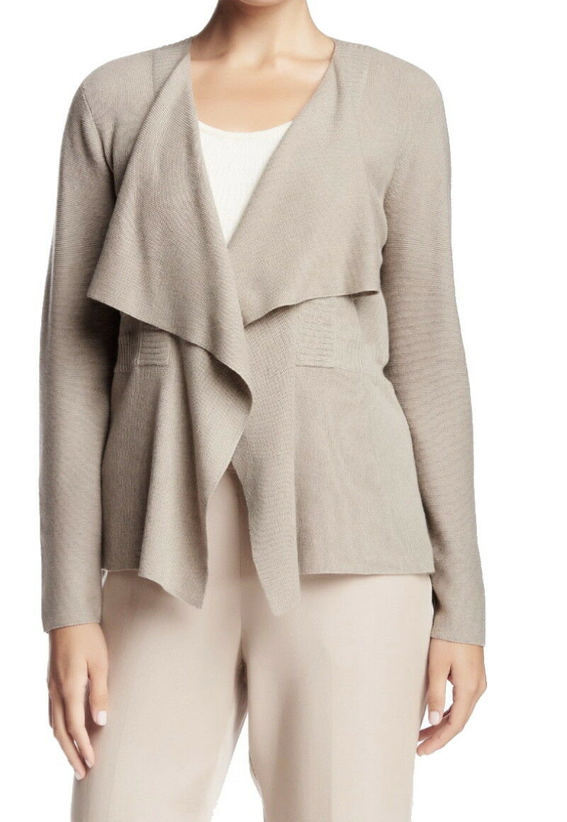 Eileen Fisher Shaped Drape Front Cardigan XSmall Natural Beige Organic NWT