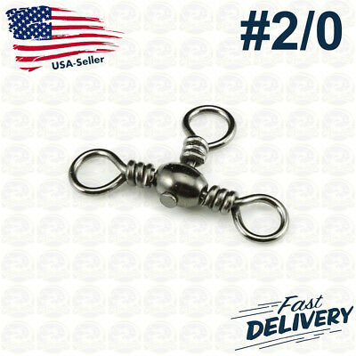 Manloong Nickel Black Fishing Rolling Swivel With New Hook Snap #2//0