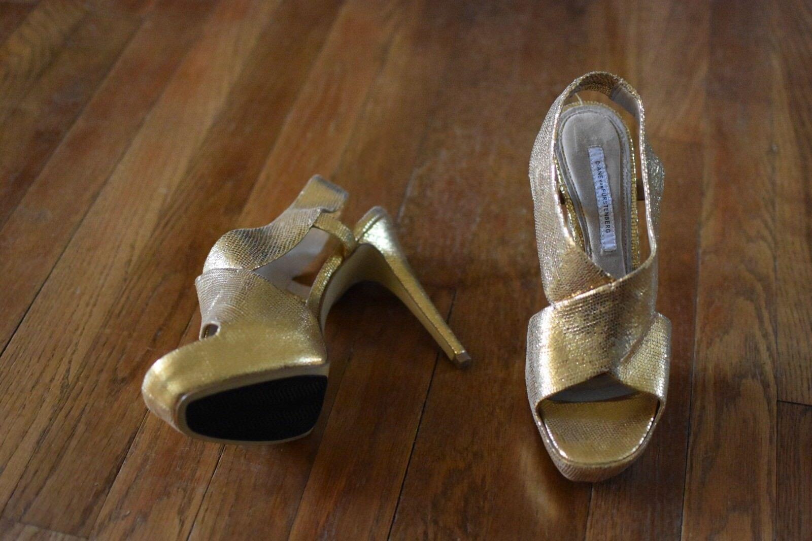 9 1/2 Diane von Furstenberg gold Lame Platform Heels Sandale New wo Box Mint