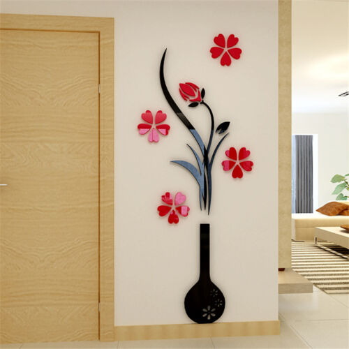 Stickers 3d Cristal Acrylique Vase Décorations Mural Maison Taille M-L-XL
