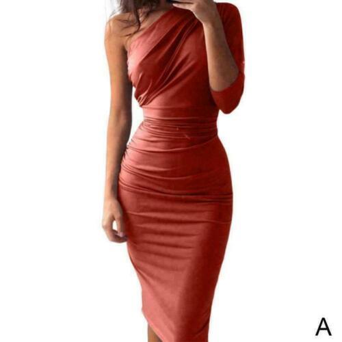 Frauen Bodycon Midi Kleid Abend Party Cocktail Club Knielangen Kleider S-XL O8B3