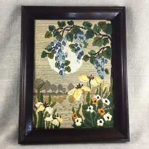 Vintage-Framed-Embroidery-Tapestry-Wool-Work-Needlepoint-Art-Deco