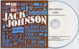 JACK-JOHNSON-Hope-2008-UK-1-trk-promo-test-CD-Nightmares-On-Wax-Remix