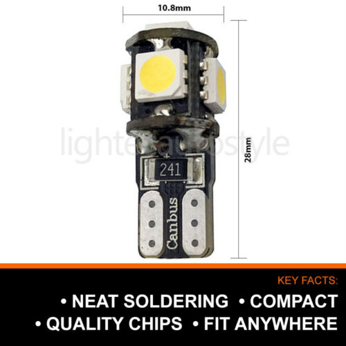 XENON WHITE 5 SMD 501 T10 W5W CANBUS ERROR FREE LED SIDELIGHTS HIGH POWER UK