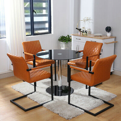 Table Chair Sets Round Glass Dining Table Set 2 4 Faux Leather Chairs Kitchen Office Furniture Home Furniture Diy Itkart Org