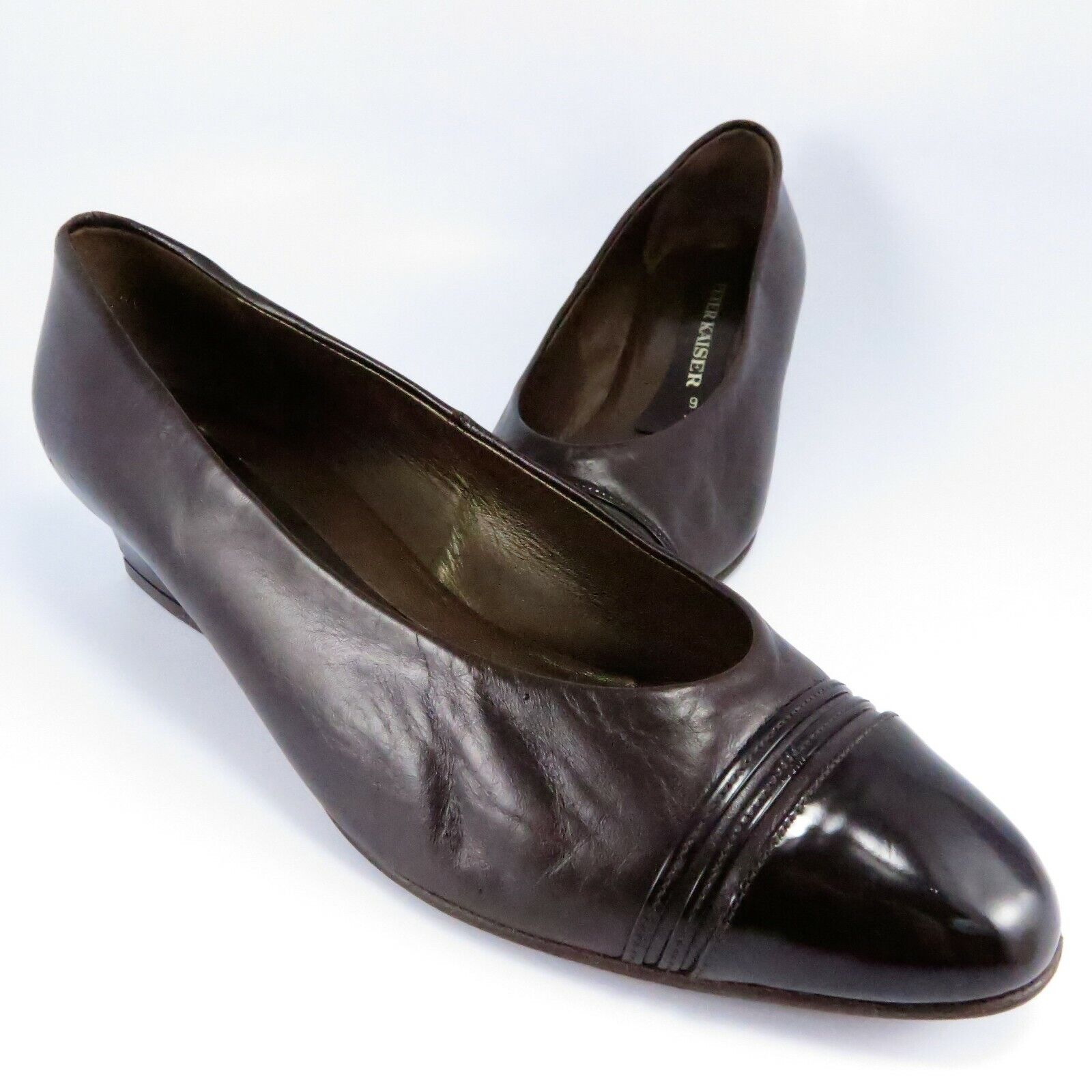 Peter Kaiser Dress Flats Womens Size 9M Brown Leather Patent-Toe Slip-Ons Pumps