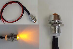 LED Gelb 3mm Chrom Metall Fassung Halter Schraube 9V - 12V Anschlußfertig C2696