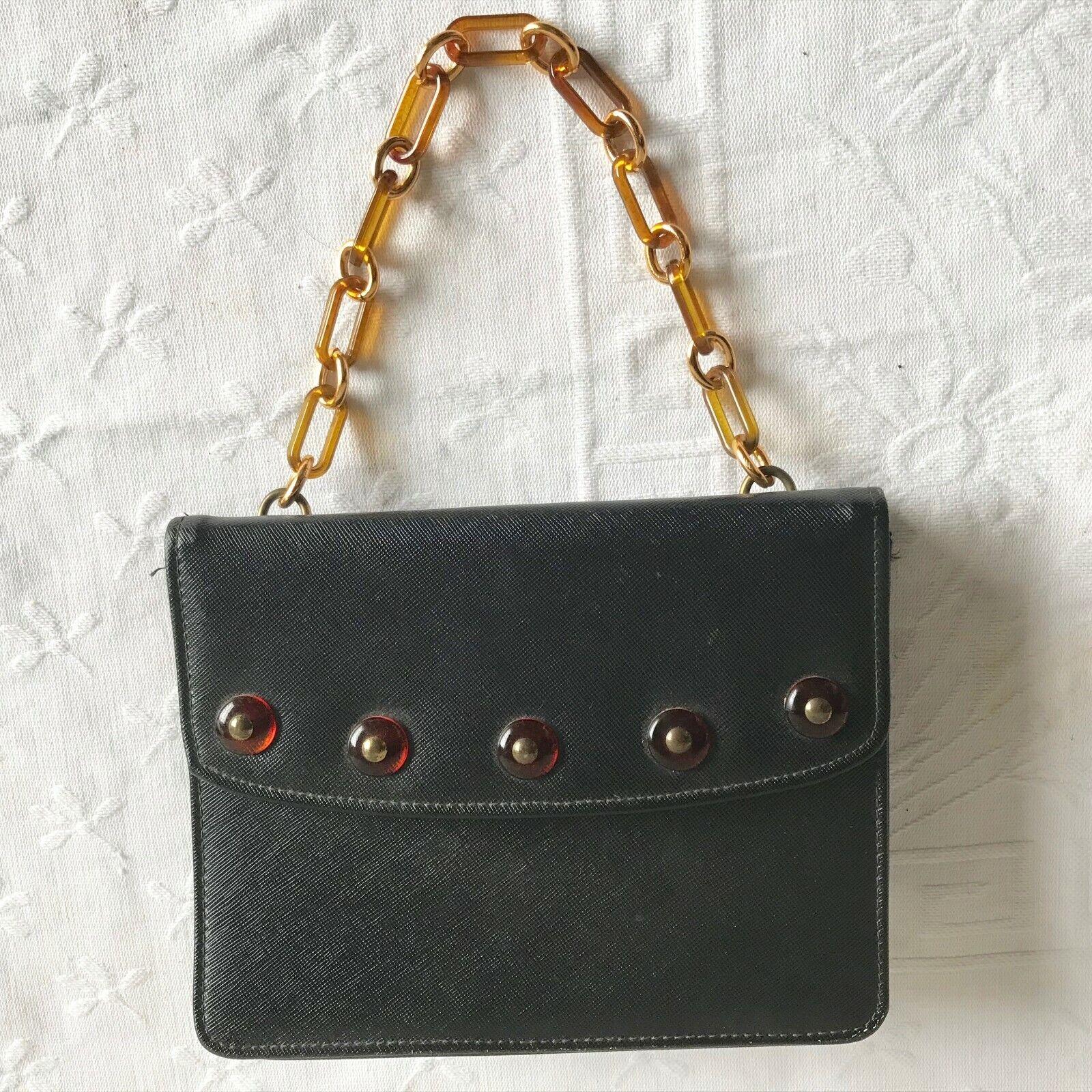 Vintage 1960s Black Faux Leather Delicato by Markay Mod Handbag Purse