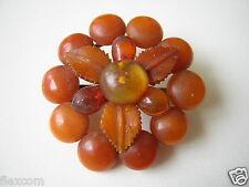 Antike Natur Bernstein Brosche Blume Flower Egg Yolk Karamell Opak 7,3 g Amber