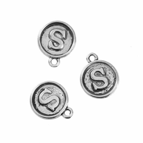 Letter S Initial Alphabet Charms Pendants Round Silver jewellery card making