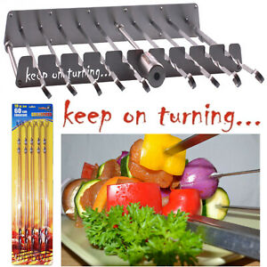 9 Skewer Kebab Shish Rotisserie Grill Automatic Rotating Set for Gas Grills