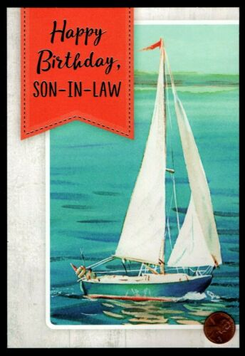SILVER FOIL Birthday Greeting Card New Details about  /BIRTHDAY Sailboat Seagulls Ocean Sea