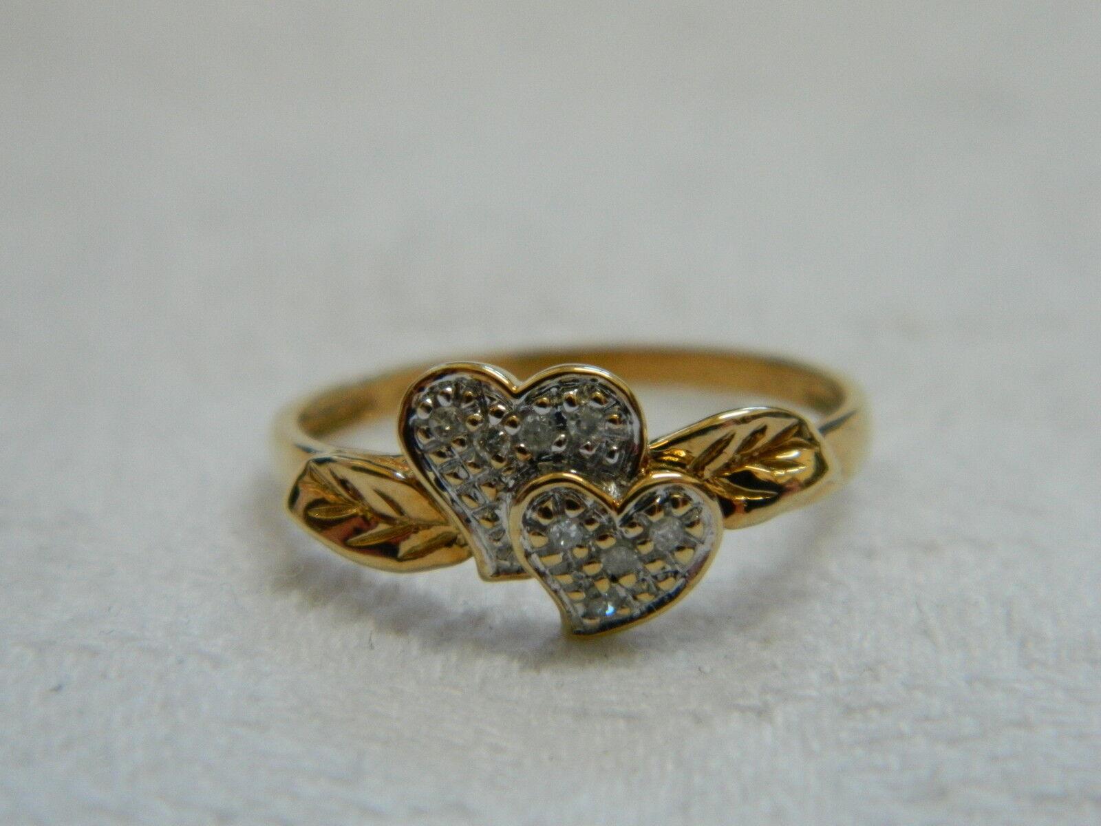 9ct Yellow gold Diamond Set Double Heart Leaf Ring sz Q