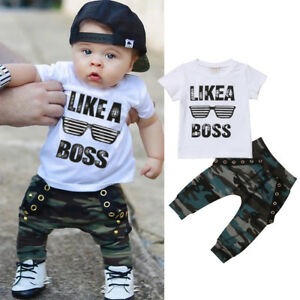 ee095dc53b3 US Toddler Kids Baby Boy Cute Outfits Short Sleeve T-Shirt Top+Pants ...