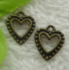 Free Ship 280 pieces bronze plated heart charms 17x14mm #2262