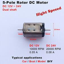 High Speed DC 12V 24V 20000RPM Dual Shaft 5-Pole Rotor Micro Motor Toy Car Boat