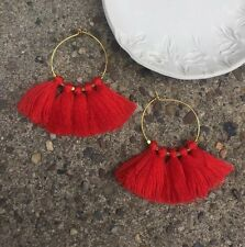 Anthropologie Bright Red Tassel Fringe Gold Plated Hoop Summer Boho Earrings
