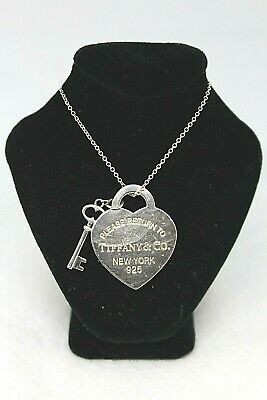 Tiffany Co Sterling Silver Return To Tiffany Heart Key Necklace 16 Chain Ebay