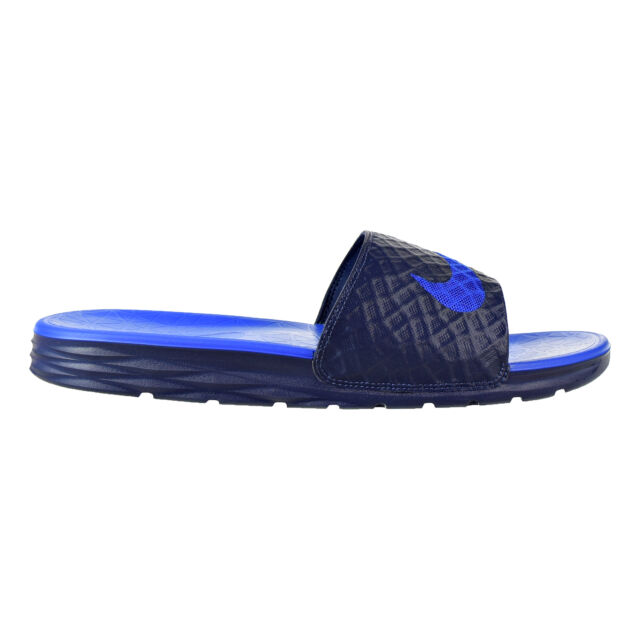 a454133b8ca81e Nike Benassi Solarsoft Men s Slides Midnight Navy Lyon Blue Black 705474-440