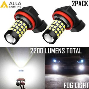 Alla Light LED H11 H11LL Driving Fog Light Bulb Lamp 6000K White Replacement,2pc