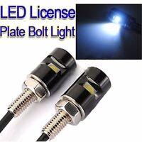 2X Motorcycle Car Auto White LED Number License Plate Srew Bolt Light Lamp 12V