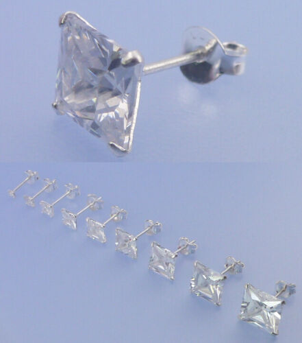 Echt 925 Silber Stück paar Ohrstecker 2 3 4 5 6 7 8 9 10 mm quadratisch Zirkonia