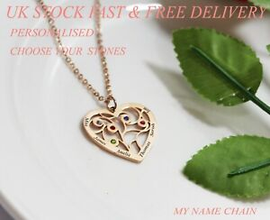 4cafe820823b6 Details about Personalised Heart 5 Birthstone Name Necklace Any Names Rose  Jewellery Gift UK