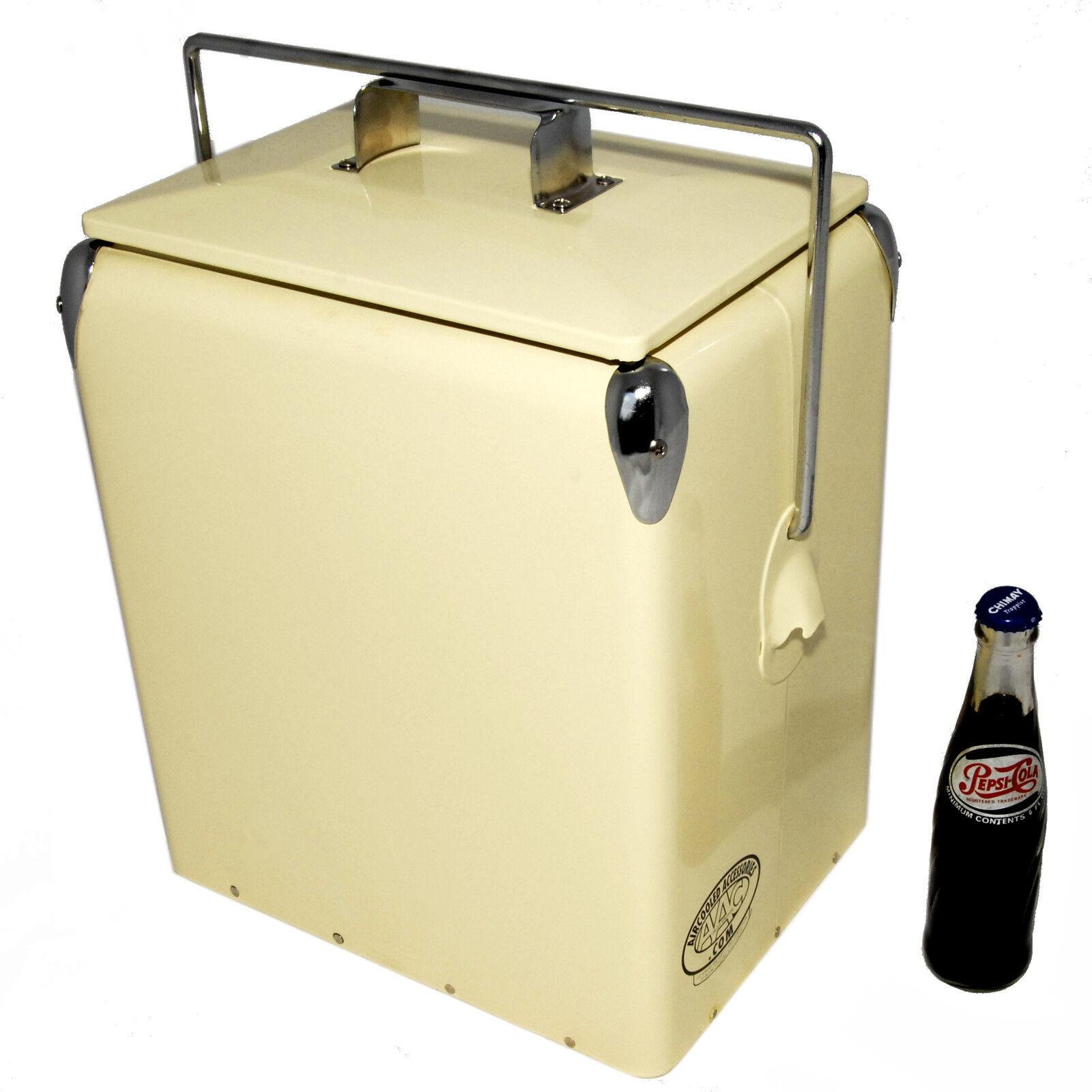 Retro Cool box PLAIN CREAM Cooler 17L Vintage Coolbox mariage present AAC079