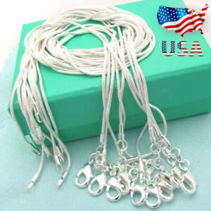 XMAS-Wholesale-925-Sterling-Silver-Lots-10pcs-1mm-Snake-Chains-16-034-30-034-Necklace