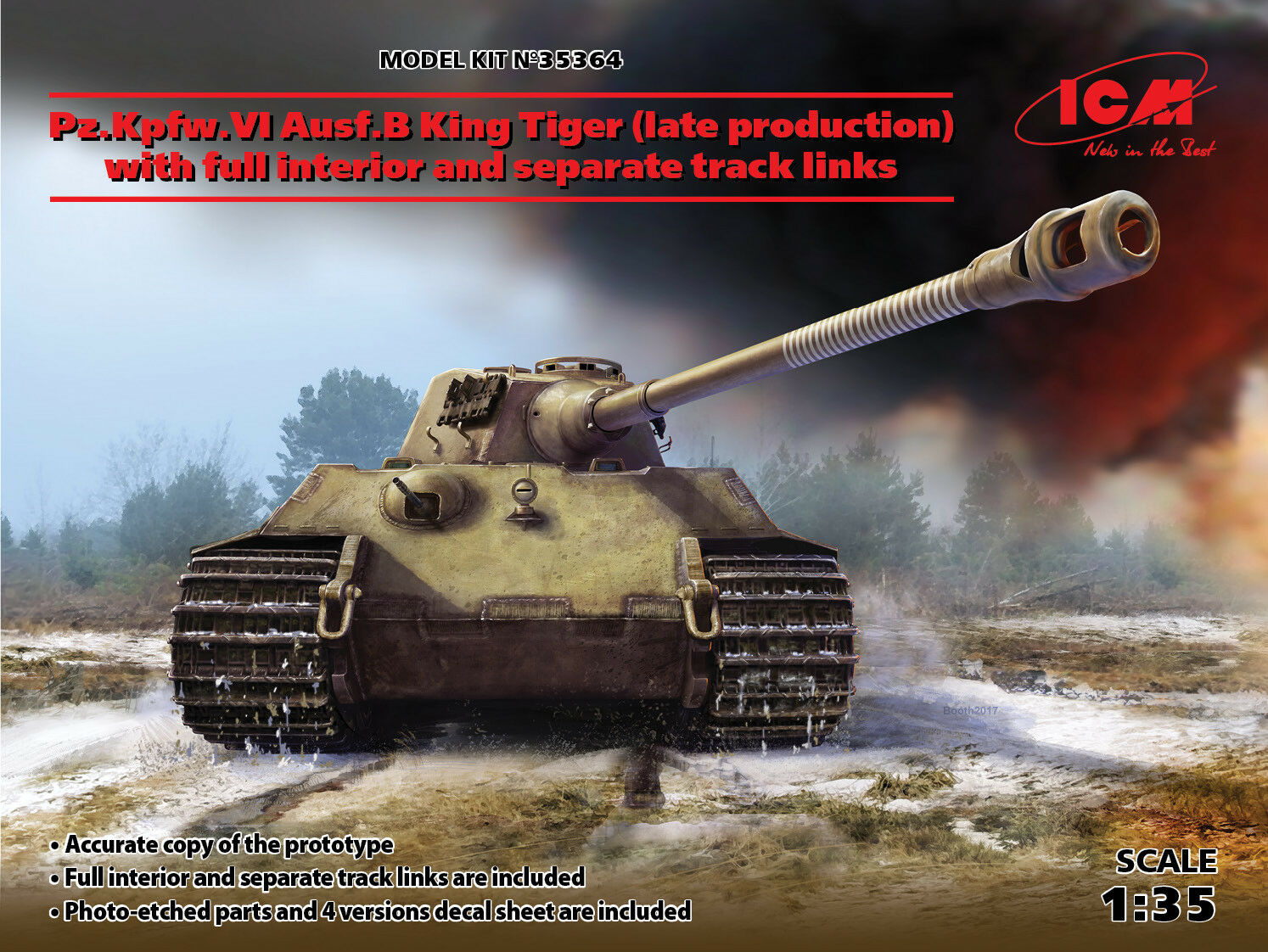 ICM 1  35 Pz.Kpfw.VI AuSF.B King Tiger (Late Production) med Full Interior & Sep
