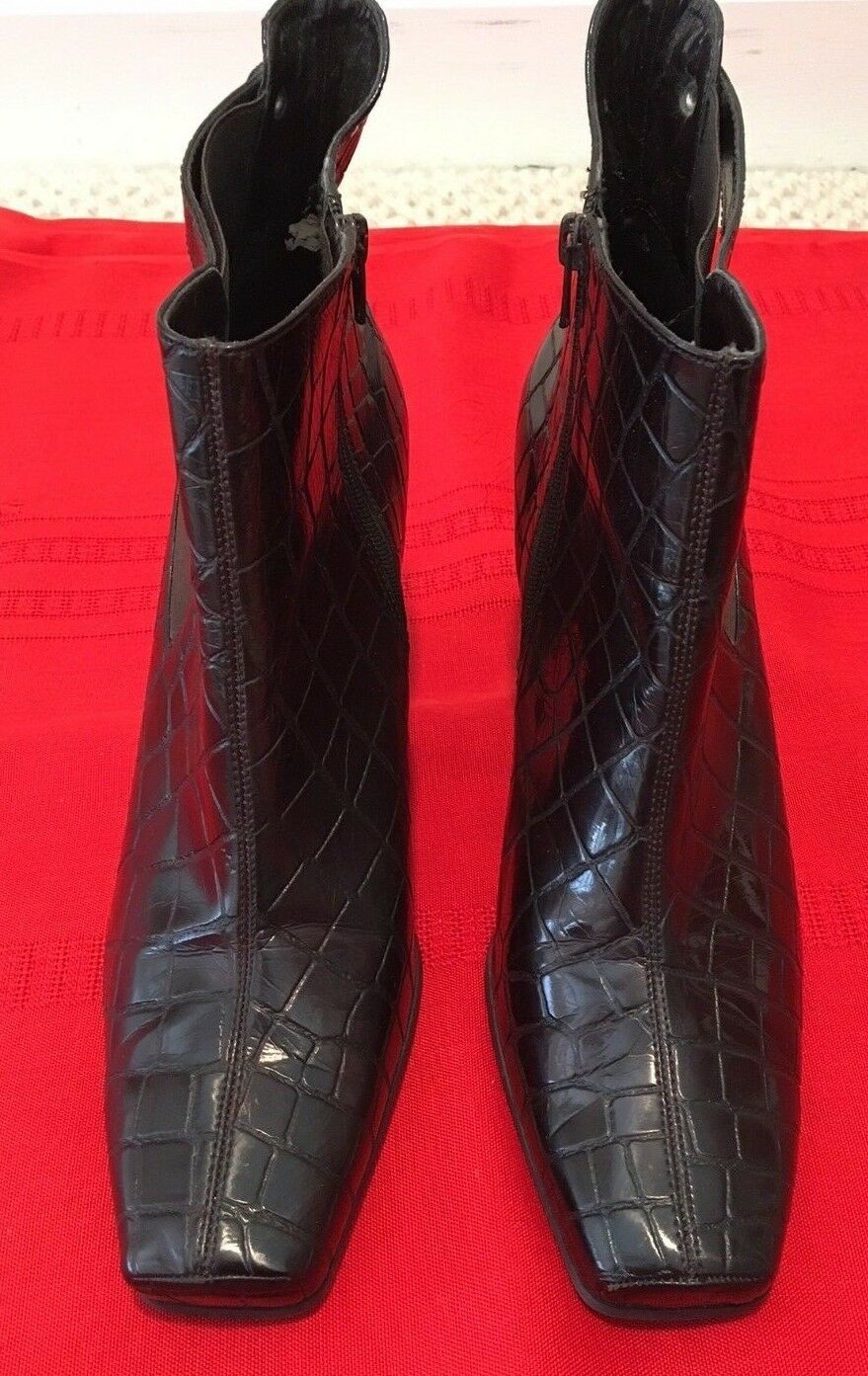Franco Sarto CLEO Dark Burgundy  Faux Patent Leather Ankle Boots Heels 9M