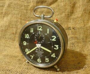 Vintage-WEHRLE-Alarm-Clock-Black-Dial-Commander-Repeat-Rare-Alarm-Germany-50