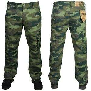 New-Mens-KAM-Camo-Cargo-Pants-Camouflage-Trouser-Dark-Green-Regular-King-size