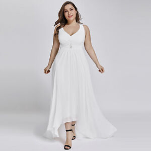 Details about Ever-pretty US Plus Size High-low Wedding Dress White Formal  Evening Gown 09983