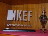Kef Loudspeaker Etched Glass Sign W/base