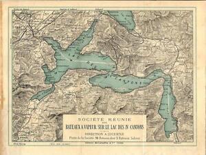 Svizzera Cartina Geografica Cantoni.Carta Geografica Antica Lago Dei Quattro Cantoni Svizzera Suisse Old Map 1889 Ebay