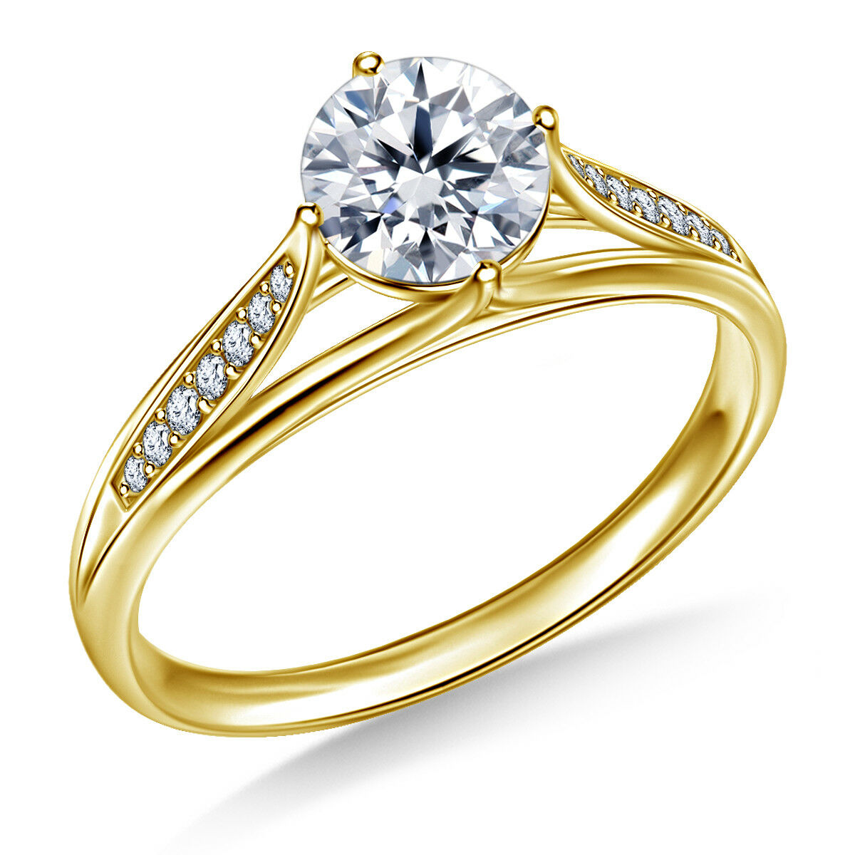 0.80 Ct Round Cut Solitaire Diamond Engagement Ring 14K Yellow gold Rings Size 7