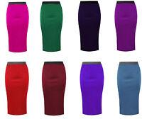 Womens Ladies Plain Bodycon Pencil High Waisted Stretch Midi Office Skirt 8-26