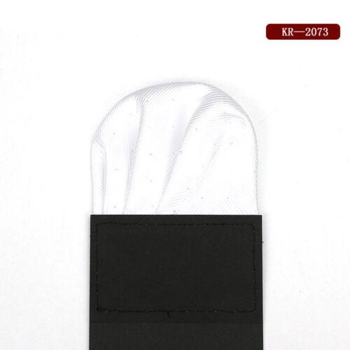 Luxury Men/'s Pre-folded Pocket Square Silver Polka Dot Handkerchiefs Chest Towel