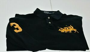 Polo Ralph Lauren Black Custom Fit Big Pony 3 Player Gold Metallic ... b4c1f9eb5abfe