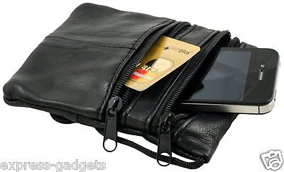 IPHONE 3GS 4 4S 5 SAMSUNG GALAXY S3 HTC NOKIA LEATHER MONEY TRAVEL NECK POUCH