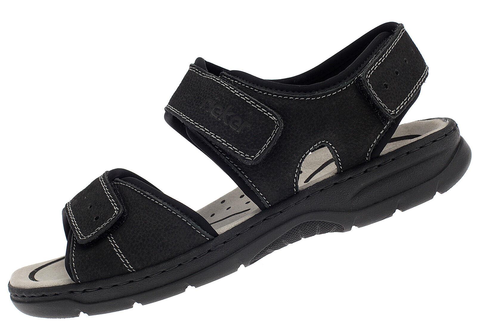 Rieker Herren Sandalen Leder Klett Sommer Schuhe 26274-00 schwarz